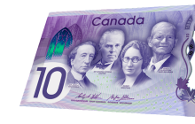 The back of a ten dollar Canadian Bill