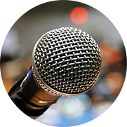 Detail photo of a microphone