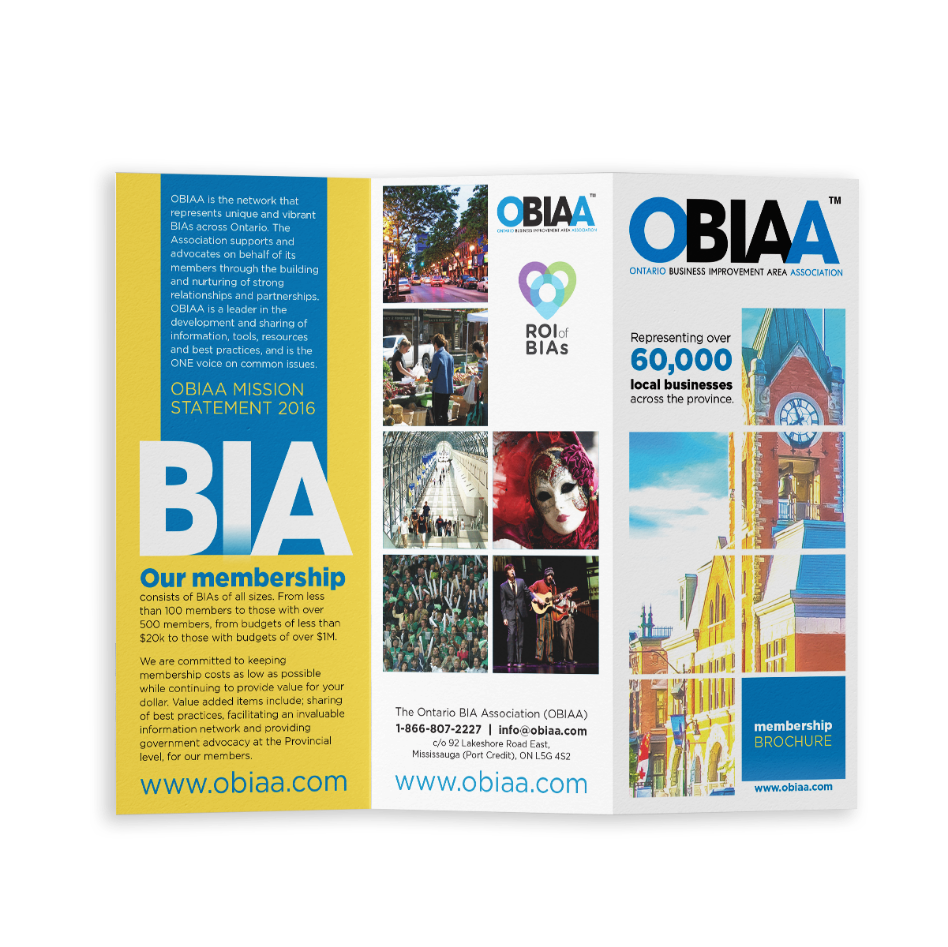 Photo of a trifold OBIAA brochure