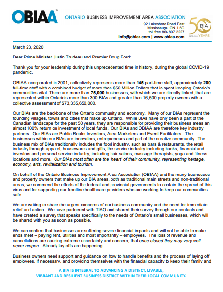 ontario bia association obiaa letter to prime minister justin trudeau and premier ford covid-19